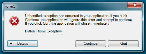 WinForms Exception Dialog